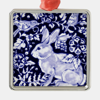 Dedham Blue Rabbit, Classic Blue & White Design Square Metal Christmas Ornament