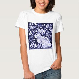 Dedham Blue Rabbit, Classic Blue & White Design T-Shirt