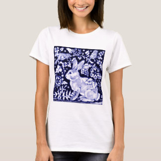 Dedham Blue Rabbit, Classic Blue & White Design T-Shirt
