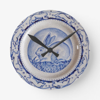 """Dedham Blue"" Rabbit Design Clock, Blue & White Round Clock"