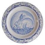 """Dedham Blue"" Rabbit Design Plate, Blue & White"