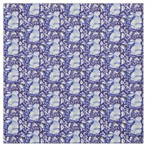 Dedham Blue & White Rabbit, Bird Designer Fabric