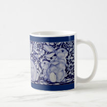 Dedham Blue & White Rabbit Ceramic Tile Coffee Mug