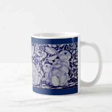 Coffee Themed Dedham Blue & White Rabbit Ceramic Tile Coffee Mug