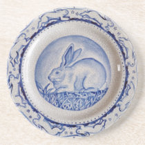 """Dedham Blue"" & White Rabbit Plate Design Coaster"