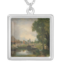 Dedham Lock and Mill, 1820 Silver Plated Necklace