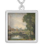 Dedham Lock and Mill, 1820 Square Pendant Necklace