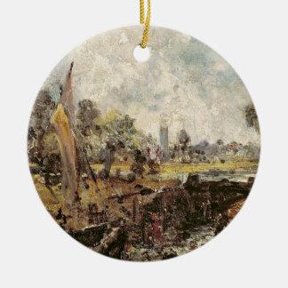 Dedham Lock, c.1820 (oil on canvas laid down on pa Ceramic Ornament