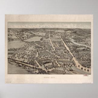 Dedham Massachusetts 1876 Antique Panoramic Map Poster