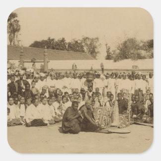 Dedicaciones en la pagoda de Arakan, Mandalay, Pegatina Cuadrada