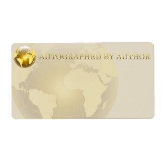 Dedicado por el mundo del oro del autor etiqueta de envío
