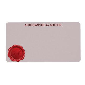 Dedicado por el sello A de la cera del autor Etiquetas De Envío