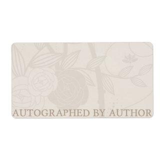 Dedicado por la flor de la crema del Bookplate del Etiquetas De Envío