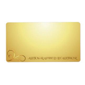 Dedicado por remolino del oro del autor etiqueta de envío