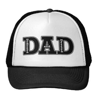 Dedicated and Devoted Dad Typographic Trucker Hat