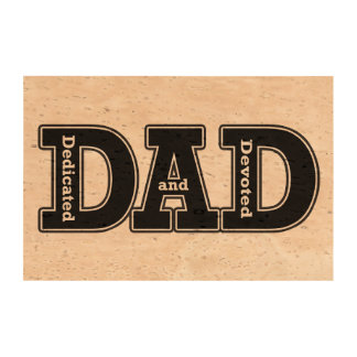 Dedicated and Devoted Dad Typographic Cork Paper