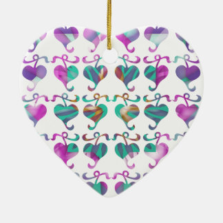 Dedicated to MOM : Jewels U Love Double-Sided Heart Ceramic Christmas Ornament