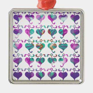 Dedicated to MOM : Jewels U Love Square Metal Christmas Ornament