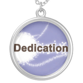 Dedication on a Purple Background Silver Plated Necklace