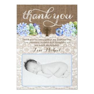 Dedication thank you card, religious thank you boy card