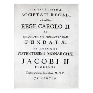 Dedication to the Royal Society Postcard