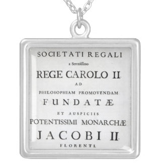 Dedication to the Royal Society Silver Plated Necklace