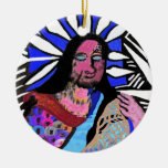 Dedication : Vintage Cave Style Art Double-Sided Ceramic Round Christmas Ornament