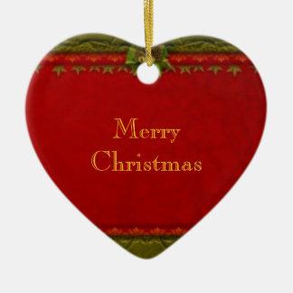 Dedique el navidad adorno navideño de cerámica en forma de corazón