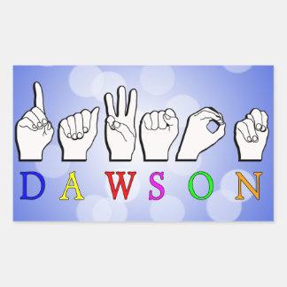 DEDO DE DAWSON ASL DELETREADO PEGATINA RECTANGULAR