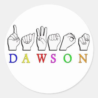 DEDO DE DAWSON ASL DELETREADO PEGATINA REDONDA