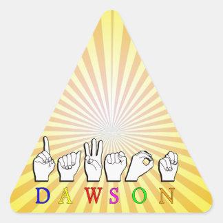 DEDO DE DAWSON ASL DELETREADO PEGATINA TRIANGULAR
