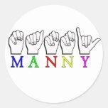 DEDO    DE MANNY ASL DELETREADO ETIQUETAS REDONDAS