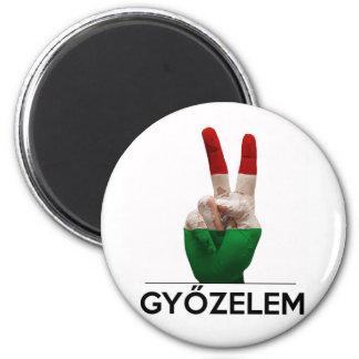 Dedo húngaro de la paz de la forma de V de la mano Imán Redondo 5 Cm