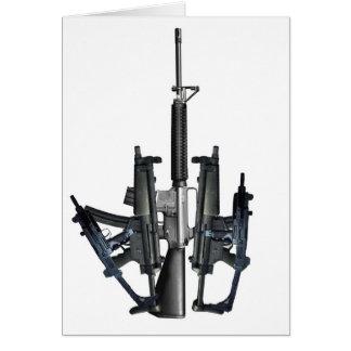 Dedo medio del arma de fuego tarjeta de felicitación