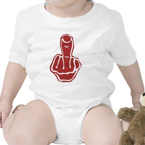 Dedo medio - rojo brillante hueco camiseta
