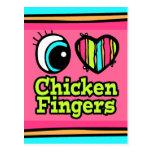 Dedos brillantes del pollo del amor del corazón I  Tarjetas Postales