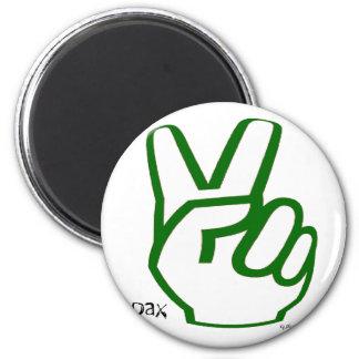 Dedos de la paz - verde imán redondo 5 cm