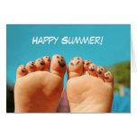 Dedos del pie felices del verano tarjetas