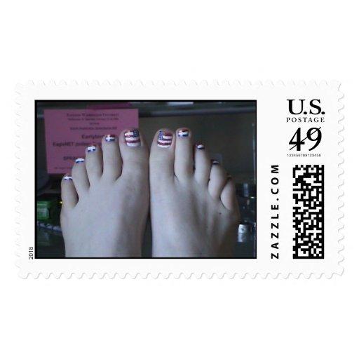 dedos del pie patrióticos sellos