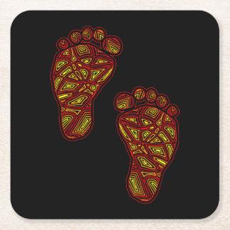 Dedos del pie tribales posavasos de papel cuadrado