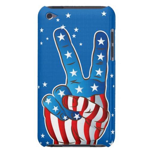 Dedos patrióticos de la mano de la victoria de Amé Barely There iPod Protectores