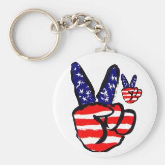 Dedos patrióticos de la paz en americano de la ban