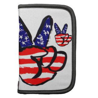 Dedos patrióticos de la paz en americano de la planificadores