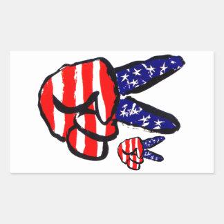Dedos patrióticos de la paz en americano de la rectangular pegatina