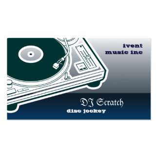 Dee Jay Button Style Turntable Business Card