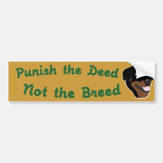 Deed Not Breed Rottweiler Bumper Sticker