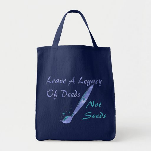 Deeds Not Seeds Grocery Tote Bag