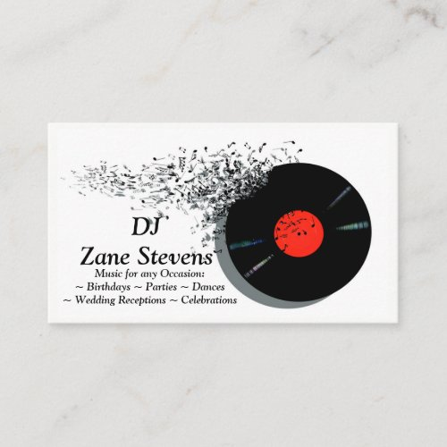 DeeJay DJ Disc Jockey Vinyl Record Business Card