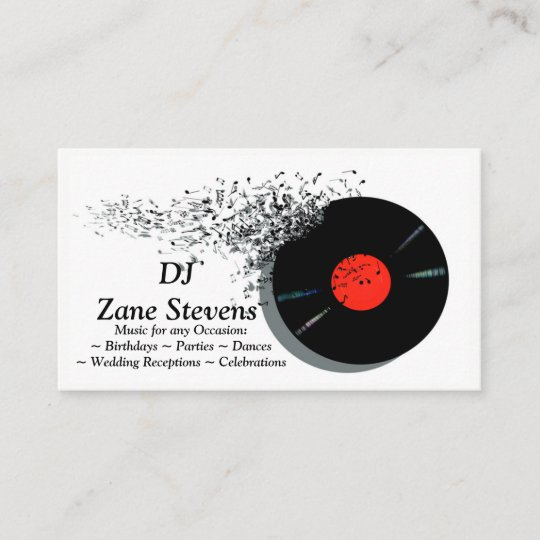 deejay dj disc jockey vinyl record business card zazzle com