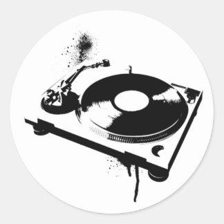 Deejay DJ Turntable Round Sticker   House music